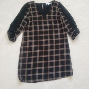 Plaid tartan windowpane dress lace insert
